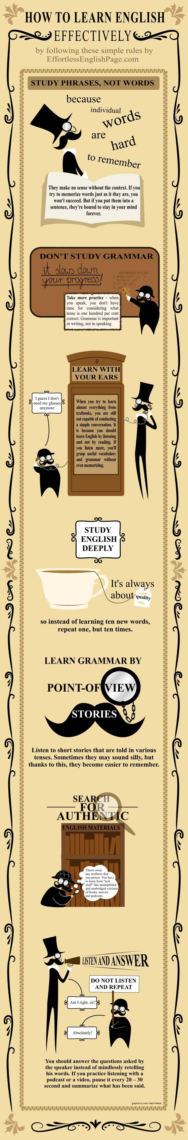 How To Learn English Effectively (Infographic) | Effortless English ✿ English Language / Learning English / Easy English / English speaking skills / English vocabulary / Language Learning ✿ Repin for later!