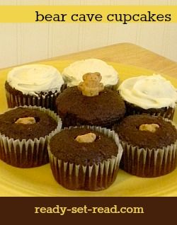 Bear Cave Cupcakes- hide teddy grahams in chocolate cupcakes and frost. Great for Teddy Bears' picnic- post has books about bears, activities, games, snacks and songs for Teddy Bears' Picnic theme