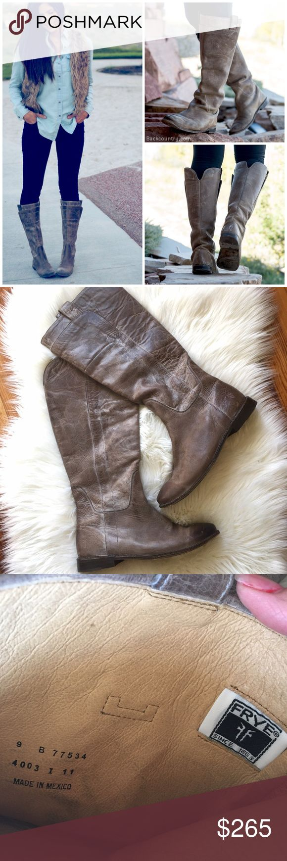 FRYE Riding Boots Amazing rustic-looking Riding Boots by FRYE. Beautiful color. Naturally distressed. Very good condition. These will last for many many years. Frye Shoes Winter & Rain Boots