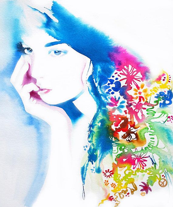 Jane Floral Ink Original Watercolor Portrait Glamour Fashion