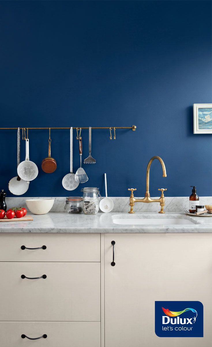 Looking For Kitchen Ideas To Work With Neutral Cabinets Look No Further Than The Stylish Sapphire Dulux Kitchen Paint Neutral Cabinets Navy Blue Paint Colors