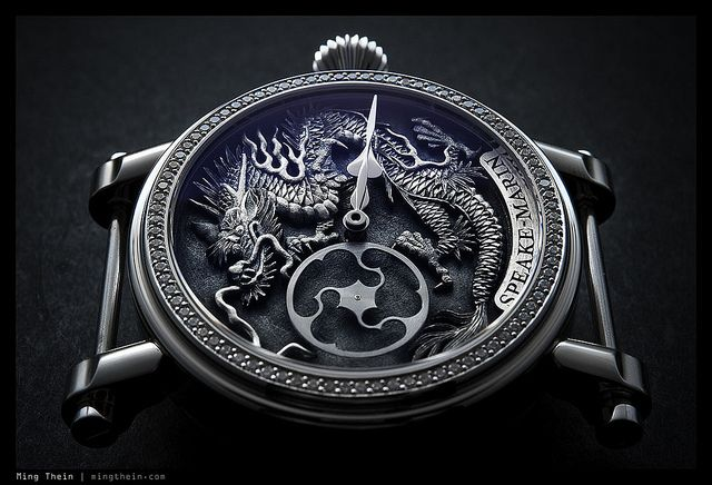 Peter Speake-Marin Immortal Dragon watch hand engraved by Kees Engelbarts with a platinum case and diamond bezel