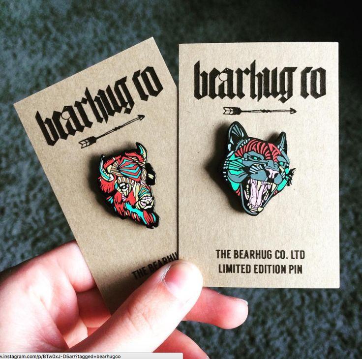 Bearhug Enamel pins #thebearhugco #enamelpin #buffalo #jaguar #lukedixon #illustration