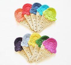 Make It: Crochet Ice Cream Appliqué - Free Pattern ..thanks so for share xox ☆ ★ https://www.pinterest.com/peacefuldoves/