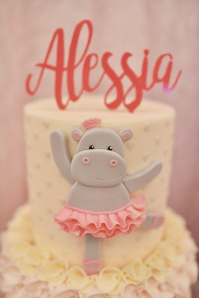 Alessia's Sweet Hippo Ballerina Themed Party - Cake