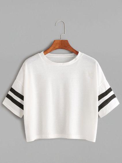 Camiseta corta hombro caído de raya universitaria - blanco