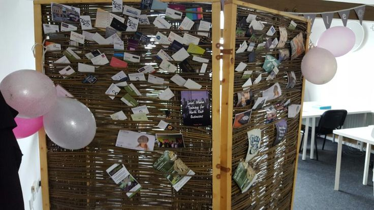 We display cards and marketing collateral in our handmade willow screen. Marketing for other businesses.