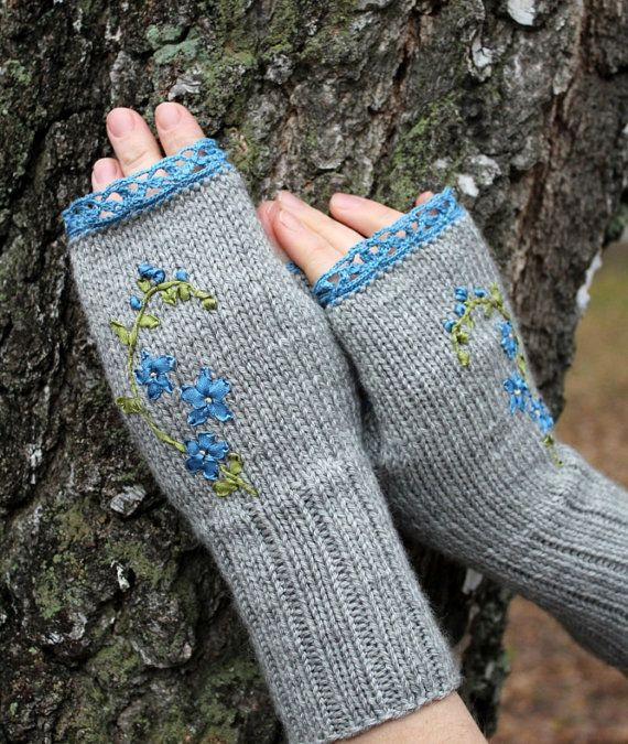 Hand Knitted Fingerless Gloves, Ribbon Embroidery, For Women, Accessories, Gloves & Mittens, Hand Crocheted Thin Cotton Lace, Flowers,