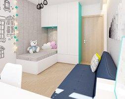 Pokój rodzeństwa – turkus - Mały pokój dziecka dla chłopca dla dziewczynki dla ucznia dla malucha dla nastolatka, styl nowoczesny - zdjęcie od Klaudia Tworo Projektowanie Wnętrz