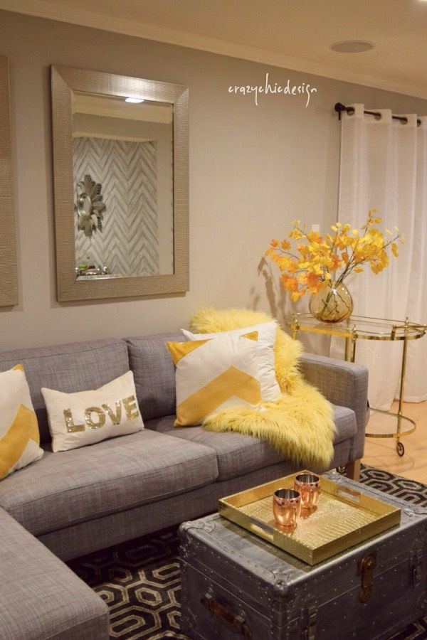 I love the combination of yellow and gray for Fall. Adding in mixed metallics in silver and gold compliment these colors so well and give an extra reflective element. HomeGoods Sponsored Pin.