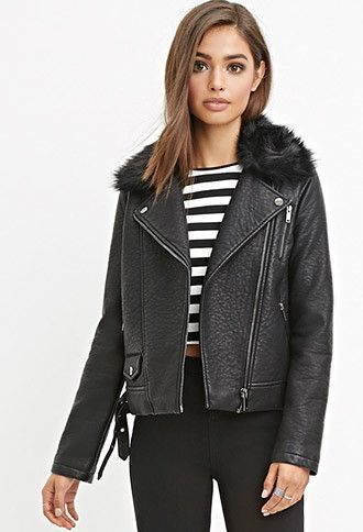 Faux Fur Moto Jacket | Forever 21 - 2000157083: