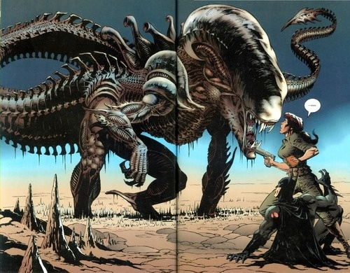 Aliens and Predators, Dinosaur/Croc Alien hybrid from Batman vs Aliens