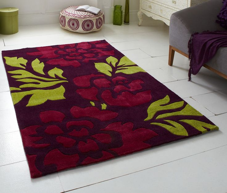 Purple green floral rug  Contemporary design Hand tufted acrylic 120 x 170cm (4ft 0″ x 5ft 7″)