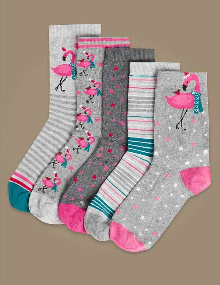 Toddler Little Big Kids Girls Ankle Socks Animal Cute Cotton Crew Socks 5 Pairs Pack