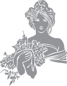 Glass etching stencil of Head and shoulders woman with flowers. In category: Centers, Characters, Flowers