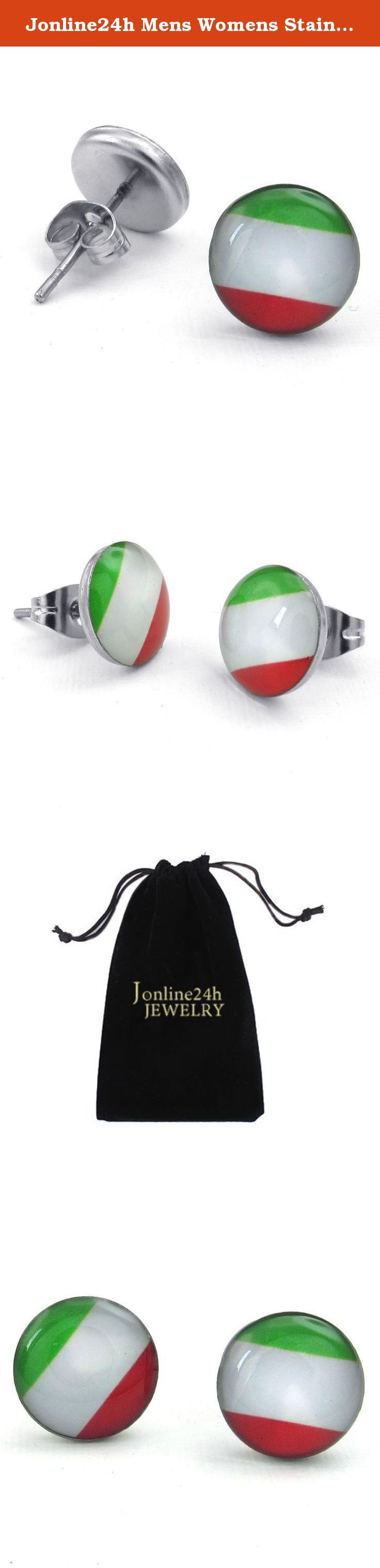 Jonline24h Mens Womens Stainless Steel Italy Flag Italian Banner Stud Earrings, Green White Red. Why choose Stainless Steel Jewelry? Stainless Steel jewelry does not tarnish and oxidize, which can last longer than other jewelries. It is able to endure a lot of wear and tear. And it is amazingly hypoallergenic. Such advantages make it a more popular accessory. Why need Stainless Steel Jewelry? High quality stainless steel has high resistance to rust, corrosion and tarnishing, which…