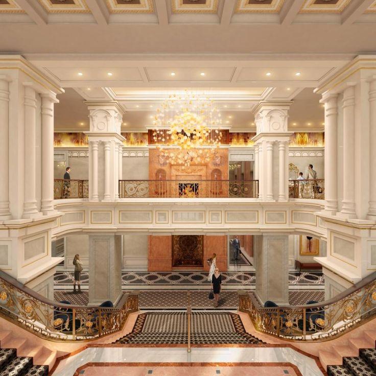 Ввод из Виллар дома на Мэдисон-авеню между 50-м и 51-м St., парадная лестница отеля присоединяется старую структуру с 1982 года башни.  Такой перевод показывает драматический дизайн.