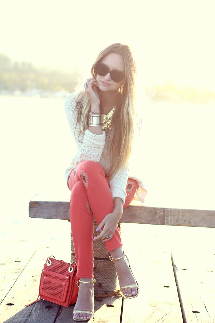 Late Afternoon: At SunsetShoes, Colors Pants, Coral Pants, Clothing, Spring Colors, Jeans, Winter Outfit, Gold Accent, Style Fashion