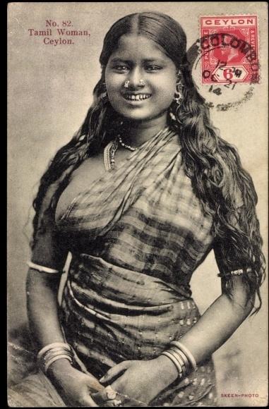 Postcard Volkstypen Sri Lanka, Blick auf tamilische Frau