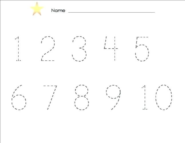 Numbers In Dotted Lines Collection Of Preschool Tracing ...