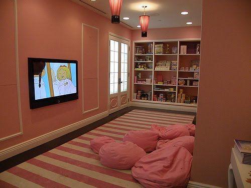 Pink U0026 White Striped Girls Playroom