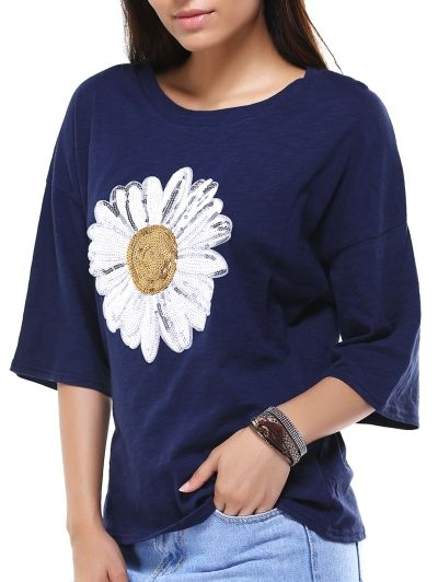 SHARE & Get it FREE | Sun Flower Round Neck 3/4 Sleeve Sequins T-ShirtFor Fashion Lovers only:80,000+ Items • New Arrivals Daily Join Zaful: Get YOUR $50 NOW!