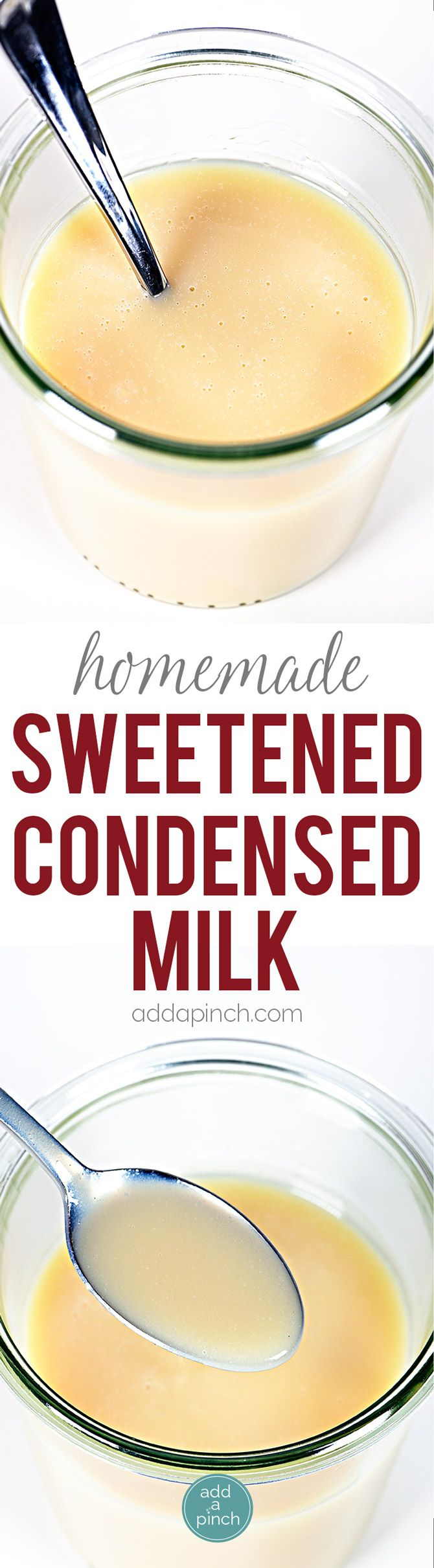 Homemade Sweetened Condensed Milk Recipe - This Homemade Sweetened Condensed Milk recipe makes a delicious, made from scratch version of sweetened condensed milk that you can use in coffee, baking, ice cream and more! // addapinch.com
