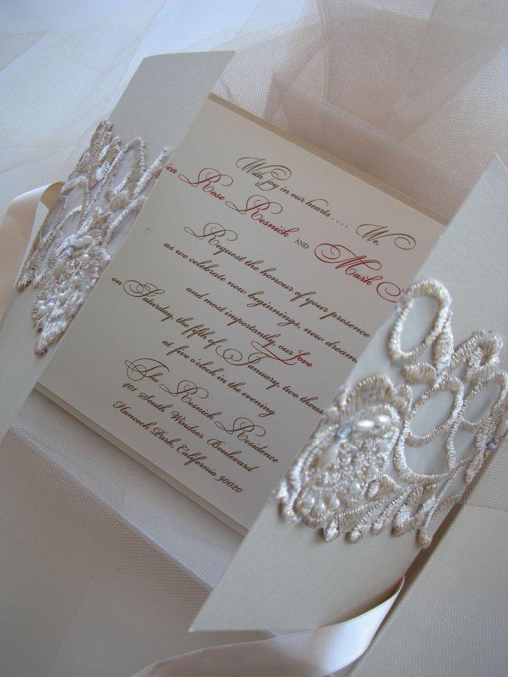 lace wedding invitation wrap%0A   Eternity   Champagne pearled lace invitation