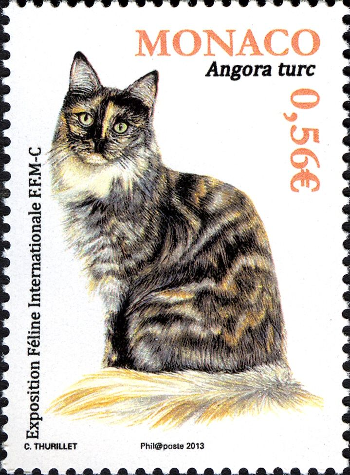 """This stamp was issued was issued by the """"Office des Emissions de Timbres-poste, Principauté de Monaco"""" on January 2, 2013. It commemorates the 2013 International Cat Exhibition."""