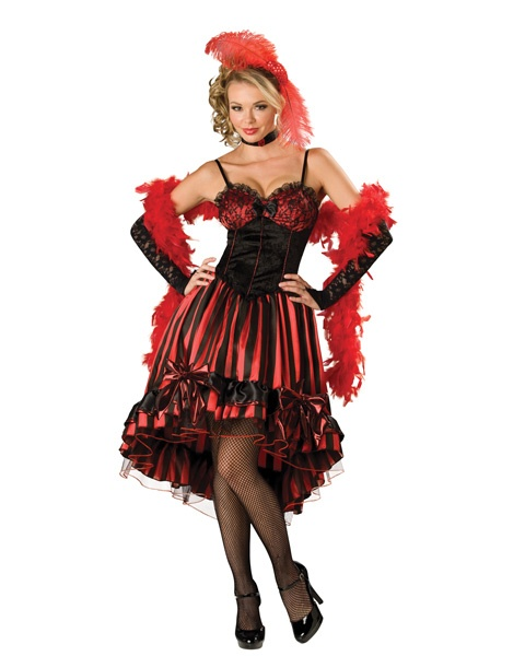 """Went to a party last night. Theme was """"Moulin Rouge"""". Some women were in such costumes- so pretty! I wish I had one on too :) Yes we can can!"""