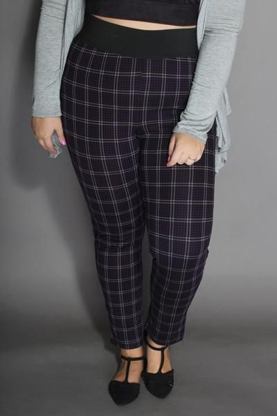 Plus Size Clothing for Women - York Plaid Pull On Skinny Pant - Purple/Black - Society+ - Society Plus - Buy Online Now! - 2