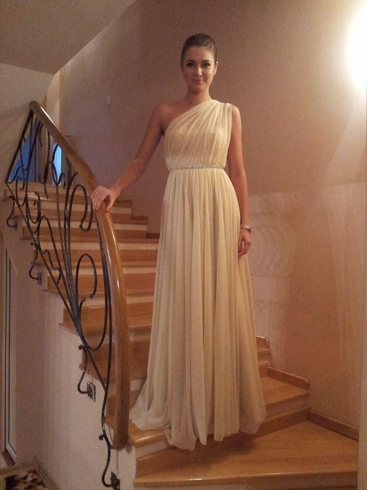 Yvette - one-shoulder nude evening dress
