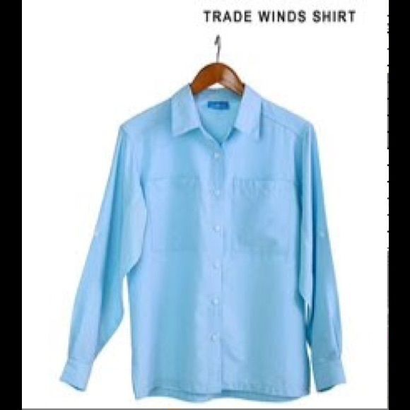 UPF UV LS Ladies sun shirt xs UPF UV LS Ladies sun shirt xs NEW in light blue Sun day afternoons Tops Button Down Shirts