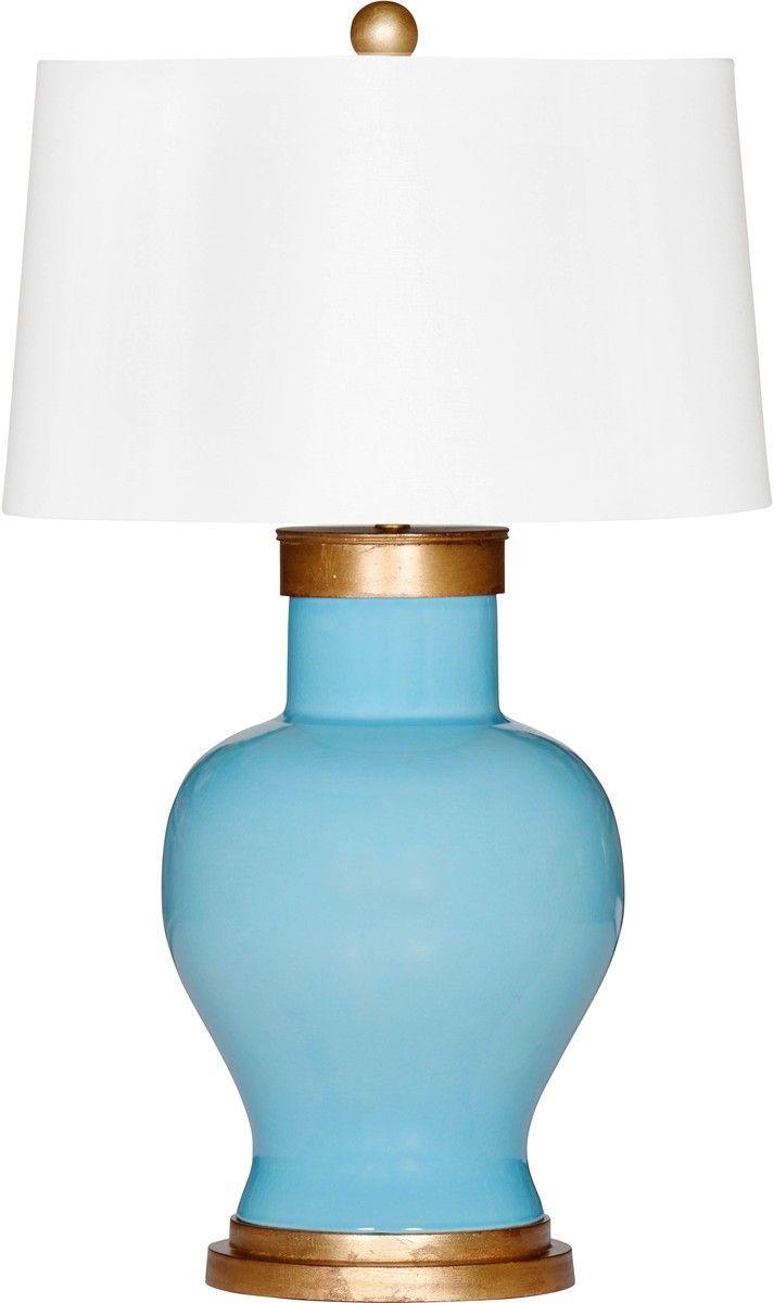 Blue Tahitian Cove Ceramic Lamp with Shade