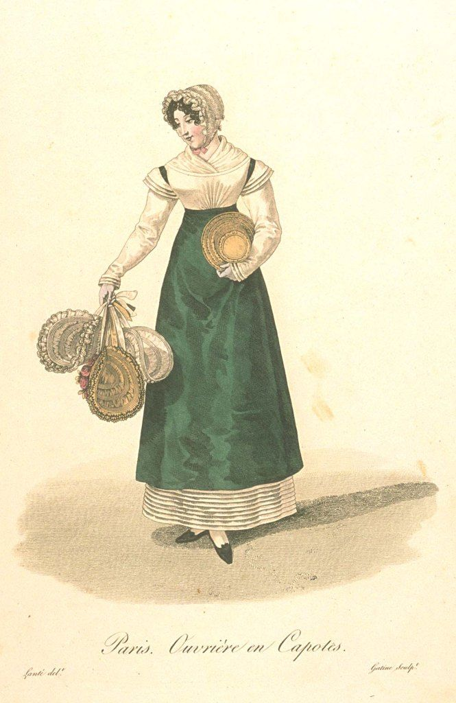 Ouvriere en capotes. A maker and seller of hats. Les Ouvriers de Paris (1824) details women's employments in Paris and shows a sequence of fashion from late 1810s to early 1820s. Image from Bunka Gakuen University, Japan http://digital.bunka.ac.jp/kichosho_e/index.php