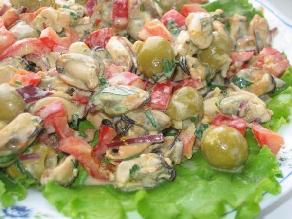 Салат из мидии с майонезом