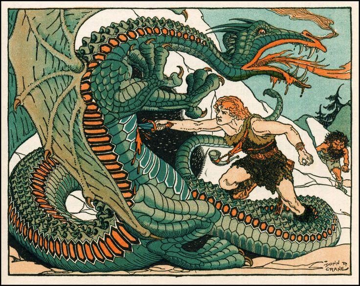 Donn P. Crane's Siegfried slaying Fafnir - Picturing Dragons