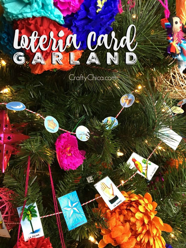 Loteria Card Garland by CraftyChica.com  Mexican Christmas Tree