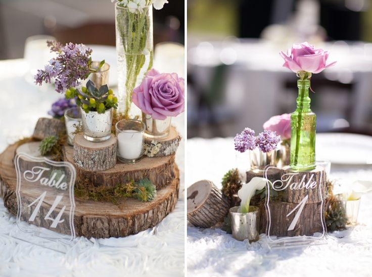 Rustic elegant centerpieces using varied sizes of tree trunks- LOVE! // photo by Elizabeth Scott Photography