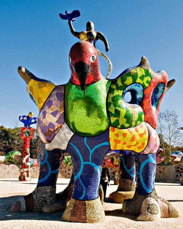 "sculpture by Niki de Saint Phalle called ""Queen Califa,Egg Fountain & Eagle Throne in Escondido, California"