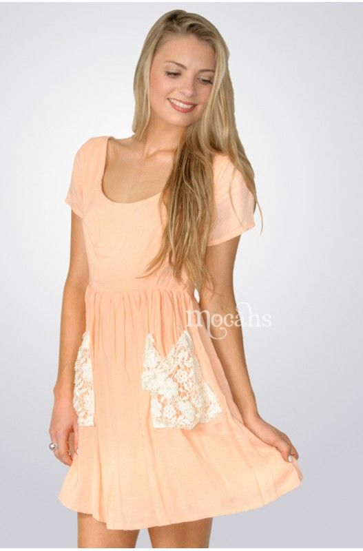 """""""Little House"""" Dress- Cute crocheted pockets! Button up back! Available in Peach & Lilac! Limited Stock 70% Discount. Shop Now!"""