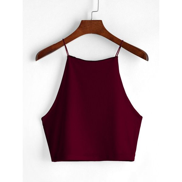 Wine Red Cami Top ($9.99) ❤ liked on Polyvore featuring tops, burgundy, red tank top, burgundy tank top, wine tank tops, spaghetti strap tank tops and summer vest
