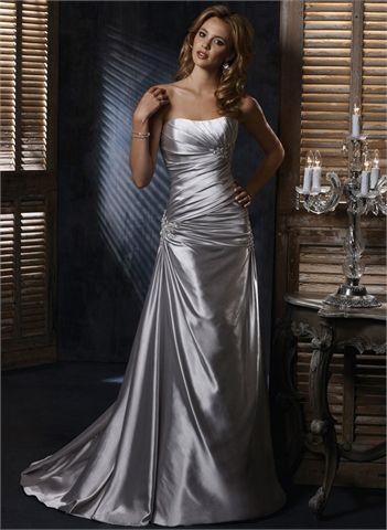 Strapless Scoop Neckline Appliqued Low Back Satin Wedding Dress WD1741