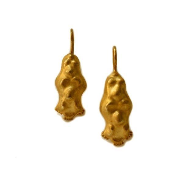 Primitive gold Dangle Earrings (E3) by Chen Fuchs Jewelry