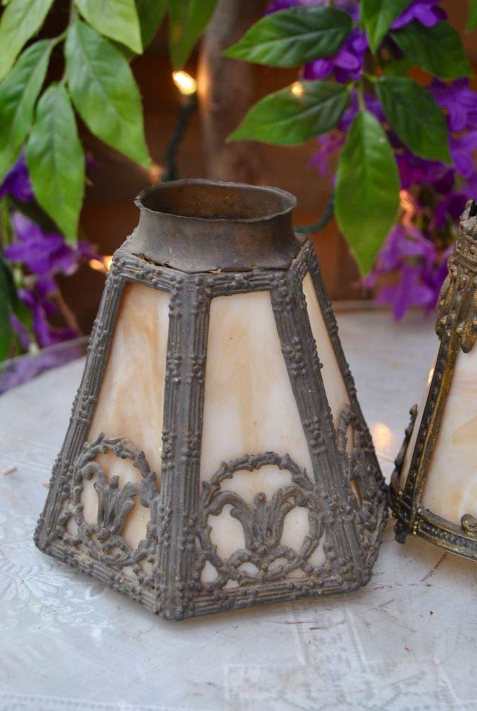 Antique Vintage Slag Glass Panel Lamp Shades Pendant Chandelier/Wall-1920s-30s