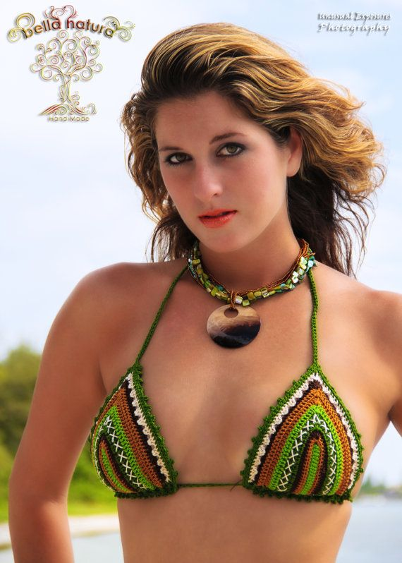 Multi Color Green Crochet Bikini por BellaNaturaCrochet en Etsy