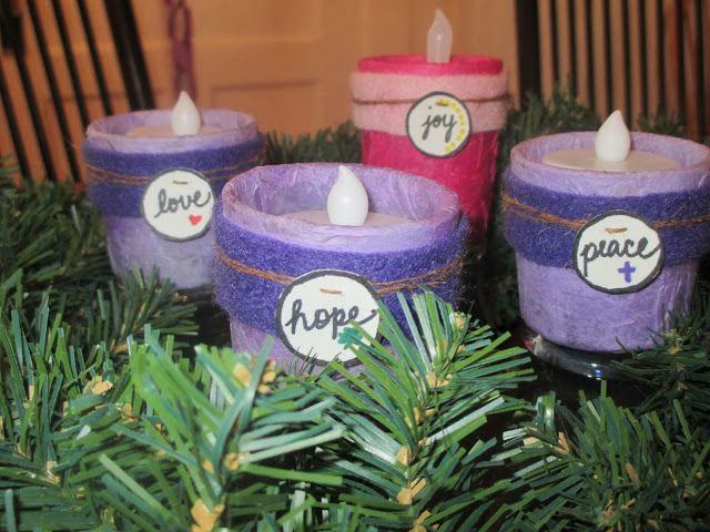 Advent wreath with labels...hope, peace, joy, love.