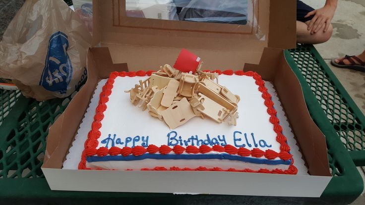 Les Miserables cake.   Bought doll furniture online cheap and stacked it for the barricade.
