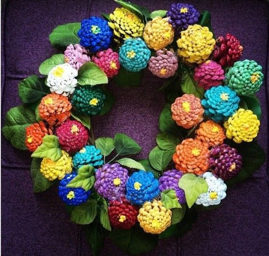 Spring Painted Pine Cone Wreath. This would be fun and maybe turn out looking like the picture!