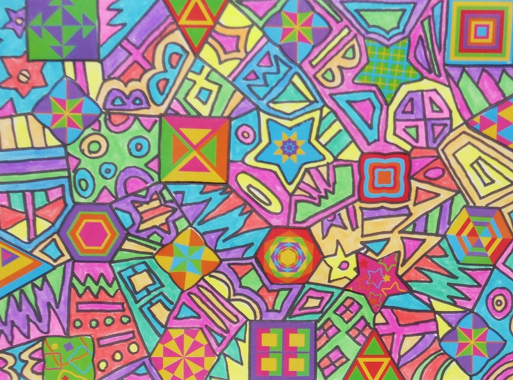 Neon Abstract Design Pic-geometric shaped stickers, black marker,flourescent markers
